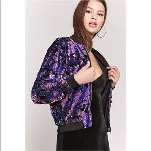 NWT Rare Iridescent Cheetah Sequin Bomber Jacket